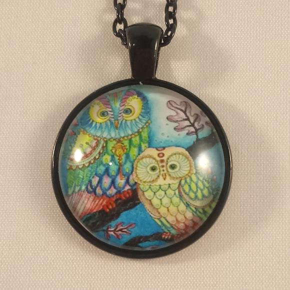 Jewelry - Black Owls Cabochon Pendant Chain Necklace